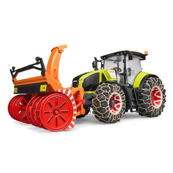BRUDER Spielzeug Claas Axion 950 Traktor mit Schneeketten + Schneefräse / 03017