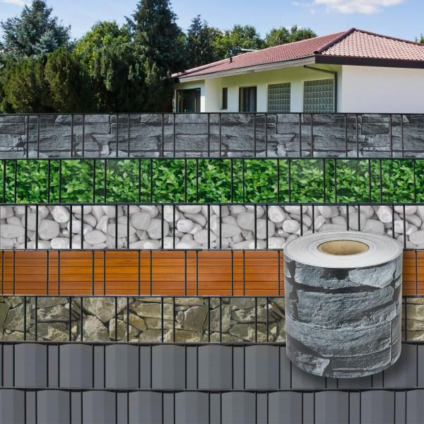 PVC Balkon Terrasse Sichtschutzstreifen Sichtschutz 70 m x 19 cm Schiefer-Optik
