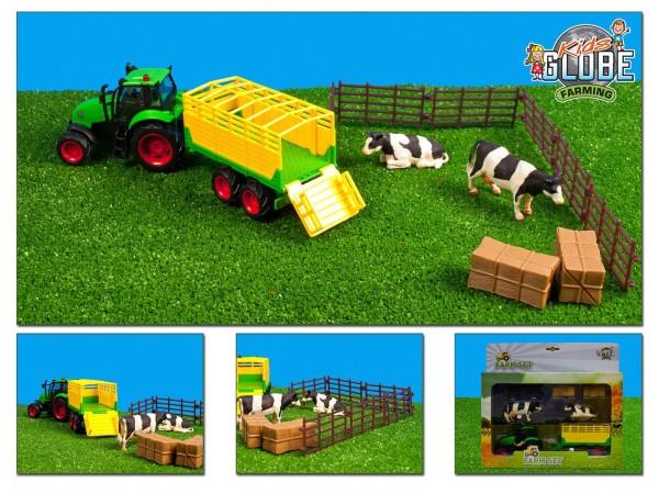 Kids Globe Farm Bauernhof Set Traktor mit Zubehör Anhänger Kuh Weide Heuballen