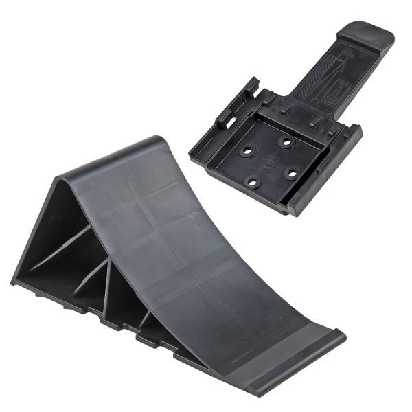 PVC - Unterlegkeil Keil Hemmschuhe schwarz mit Halter für Kfz Auto Anhänger