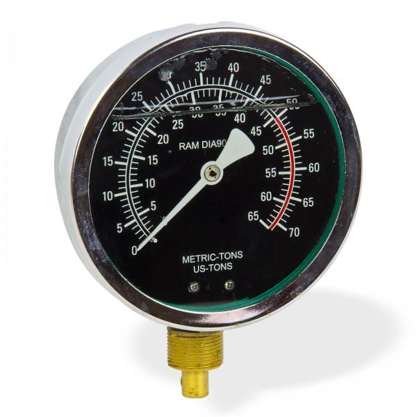 Druckmanometer Manometer Anzeige bis 65 t für DEMA Werkstattpresse Artikel 24482