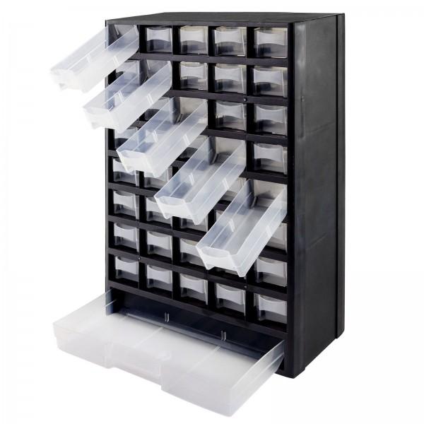 Sortimentskasten Kunststoff 41-fach schwarz/weiß